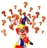 Clown with question mark sign Royalty Free Stock Photography
