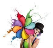 Clown with rainbow helix Stock Photos