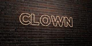 CLOWN - realistische Leuchtreklame auf Backsteinmauerhintergrund - 3D übertrug freies Archivbild der Abgabe Stockbilder
