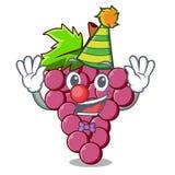 Clown red grapes fruit in cartoon basket. Vector illustration stock illustration