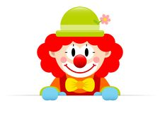 Clown With Red Hair Horizontal Banner stock illustration