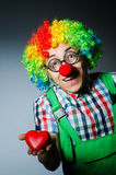 Clown with red heart Royalty Free Stock Images