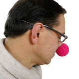 Clown with red nose. Stock Photos