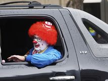 Clown With Red Wig Stock Images