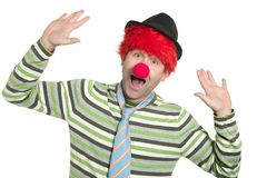 Clown redhead wig happy funny gesture Royalty Free Stock Images
