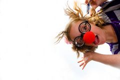 Clown roch das Kind, das unten schaut Lizenzfreie Stockfotos