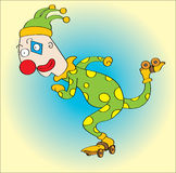 Clown with roller skates Royalty Free Stock Images