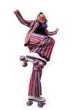 Clown with roller skates Stock Photos