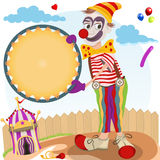 Clown with round banner Stock Photography