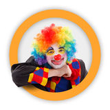 Clown in round orange frame Stock Image