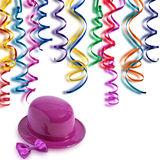 Cheerfulness. Clown's hat and streamers colored Stock Photo