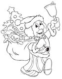 Clown. 's illustration disguised of Santa Claus without coloring Stock Image