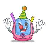 Clown school bag character cartoon. Vector illustration Royalty Free Stock Photo