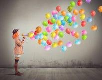 Clown screams balloons Royalty Free Stock Photos