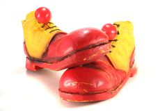 Clown shoes with clown noses Royalty Free Stock Images