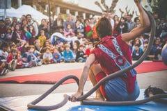 Clown show balance rope Royalty Free Stock Photos