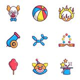 Clown show icons set, flat style Royalty Free Stock Images