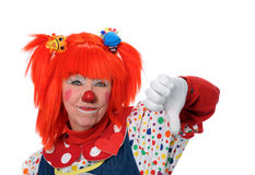 Clown Showing Disapproval. Clown in orange hair showing disapproval Stock Image