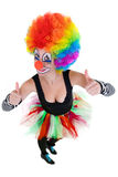 Clown showing ok sign with her fingers Stock Photography