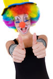 Clown showing ok sign with her fingers Stock Images