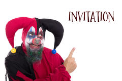 Clown showing to Text Invitation,  on white Stock Images