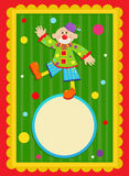 Clown Sign. Cheerful  clown is standing on a blank sign in a shape of a ball. With a colorful and decorative background. Eps10 Stock Photography