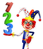 Clown with with 123 sign. 3d rendered illustration of Clown with 123 sign Royalty Free Stock Image