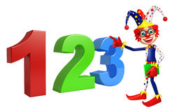 Clown with with 123 sign. 3d rendered illustration of Clown with 123 sign Stock Photo