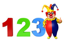 Clown with 123 sign. 3d rendered illustration of Clown with 123 sign Stock Photography