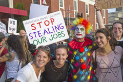 Clown Sign Tells Trump to Stop Stealing Their Jobs Royalty Free Stock Images