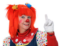 Clown Signaling Number One Stock Photography