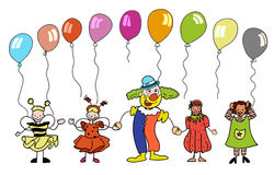 Clown and sketched Children with colourful balloons Stock Photo