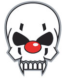 Clown skull. With red nose Royalty Free Stock Photo