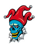 Clown skull in hat Stock Photography