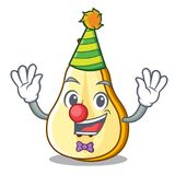 Clown sliced fresh juicy pear mascot cartoon. Vector illustration stock illustration