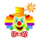 Clown smiling. Vector illustration of happy clown face with ribbon isolated vector illustration