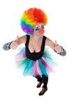 Clown som visar ok tecken med henne fingrar arkivfoton