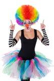 Clown som visar ok tecken med henne fingrar fotografering för bildbyråer