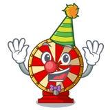 Clown spinning wheel attached the cartoon wall. Vector illustration vector illustration
