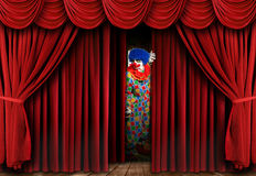 Clown on Stage Behind Curtain. A clown on stage behind a red curtain, looking away from the camera and full length viewable. Horizontally framed shot Royalty Free Stock Image