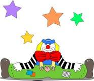 Clown-Stance On The-Boden Stockbild