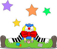 Clown Stance On The Ground. A cheerful clown sits on the ground with open legs with stars hanging in the air Stock Image