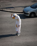 Clown standing in the middle of the street at Milan Clown Festival 2014 Stock Image