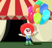 Clown Stands Outside Circus Tent Colorful Balloons stock images