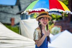Clown on Stilts at Hawthorn Street Fair, Portland, Oregon royalty free stock photo