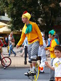 Clown on stilts, Lublin, Poland. Clown on stilts during the march-past of the royal suite and jugglers during the annual Jagiellonian Fair (12th-14st August 2011 Royalty Free Stock Photo