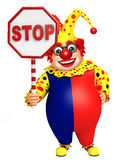 Clown with Stop board Stock Photography
