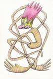 Clown in strepen Het grappige karakter, u kan op kleren en publicaties voor kinderen gebruiken royalty-vrije illustratie