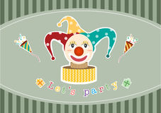 Clown on stripe green card backgrounds,Vector illustrations Royalty Free Stock Photo