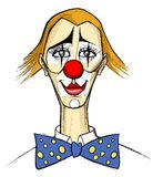 Clown in the style of Bernard Buffet Stock Photography